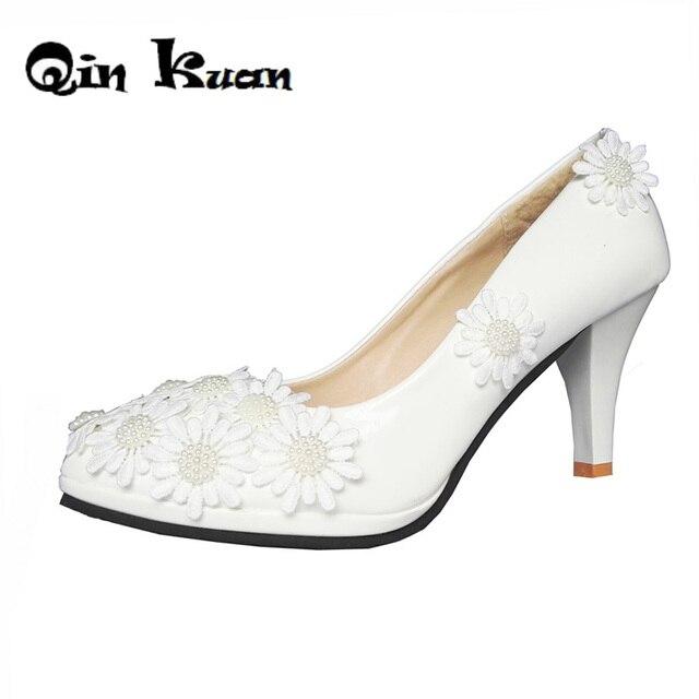 Damen Spitze Blumen Weiß Enboridery Hoher Hoher Enboridery Absatz Pumpt Schuhe Braut ... 7f8d08