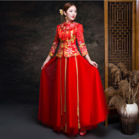 Red Cheongsam Long Qipao Chinese Traditional Wedding Dress Oriental Style Dresses Chinees Jurkje Summer Women Sexy Flowers