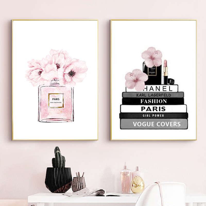 HTB1IDTFelCw3KVjSZR0q6zcUpXa6 Fashion Book Perfume Bottle Posters Wall Art Canvas Painting Watercolor Flowers Vogue Pictures Prints for Living Room Home Decor