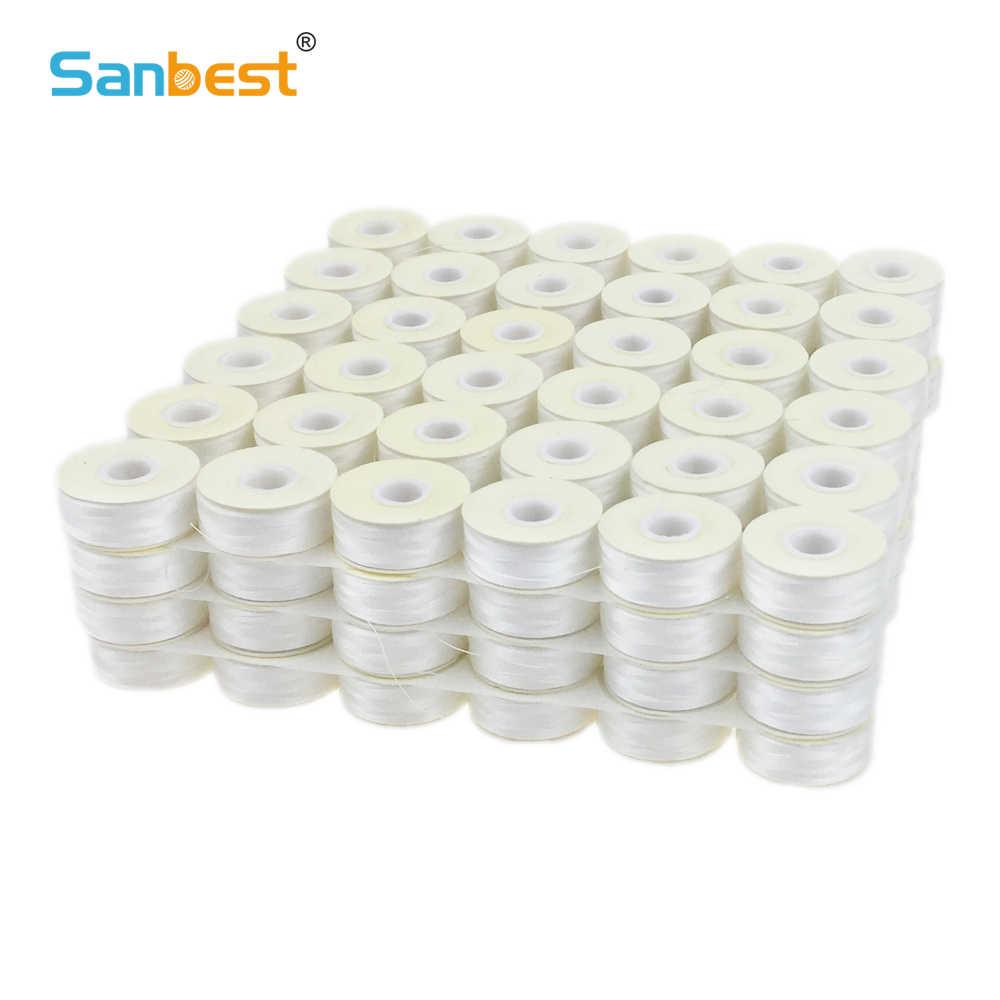 Sanbest шпульки с предварительной намоткой 70D/2 высокая прочность полиэстер 75D/2 Размер L 144 шт./кор. белый черный машина шпульная нить TH00017