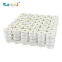 Sanbest Prewound Bobbins Threads 70D/2 High Tenacity Polyester 75D/2 Size L 144pcs/Box White Black Machine Bobbin Thread TH00017