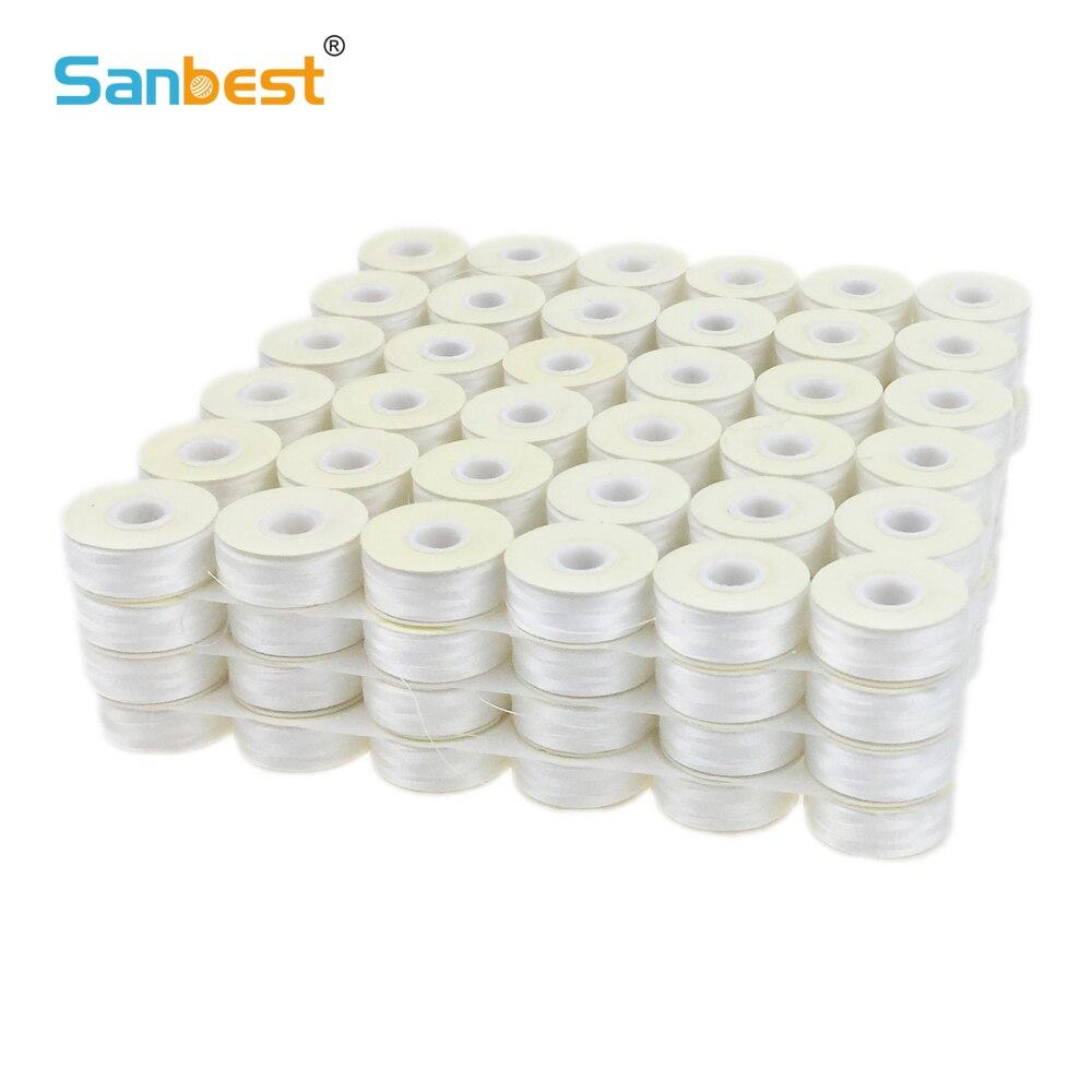 Sanbest bobines pré-enroulées fils 70D/2 haute ténacité Polyester 75D/2 taille L 144 pièces/boîte blanc noir Machine canette fil TH00017