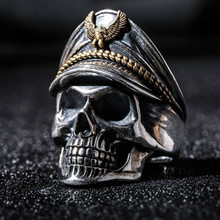 Classic Gothic Skull Men Ring Anniversary Ring Black Punk Rock Rings for Women Fashion Jewelry Anillos Mujer Wholesale F5X291(China)