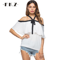 FKZ Summer White Ruffles Chiffon Top Shirts Halter Black Lace Up Off Shoulder Backless Women Tops Cheap Clothes China 6002#