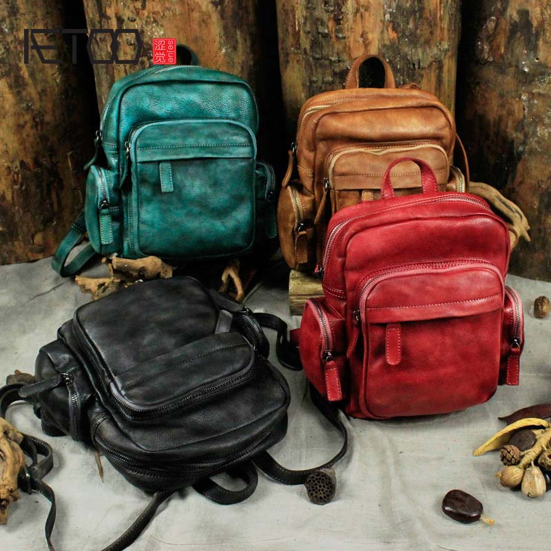 Здесь можно купить  AETOO  Genuine Leather Backpack New Original Wild Classic Retro Women Leisure First Layer of Leather Knapsack  Камера и Сумки