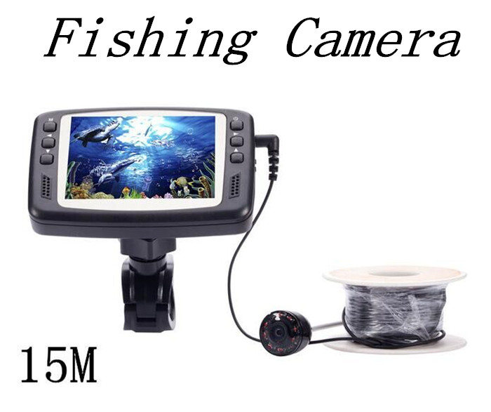 8 IR LED 1000TVL 3.5'' Color LCD Monitor Underwater Ice Video Fishing Camera System 15m Cable Visual Fish Finder free shipping eyoyo original 1000tvl underwater ice video fishing camera fish finder 15m cable 3 5 color lcd monitor