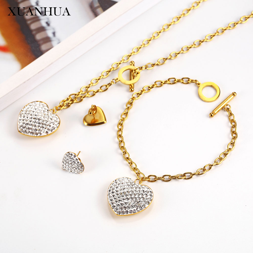 XUANHUA Stainless steel <font><b>jewelry</b></font> <font><b>sets</b></font> Heart Charm Necklace earrings bracelet <font><b>set</b></font> Accessories Women Fashion <font><b>2019</b></font> Mass Effect image