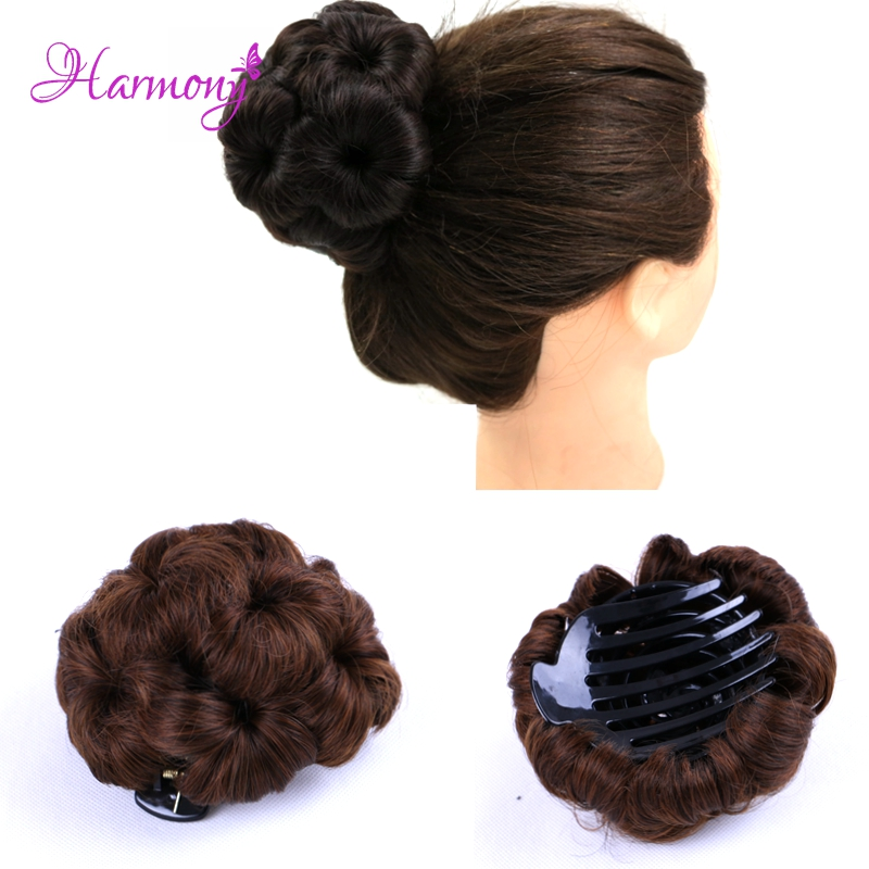Harmony Plus Hair Brown color Girls Girls Curly Combs Clip In Hair Bun Flower Chignon Updo Cover Hair Easy To Wear