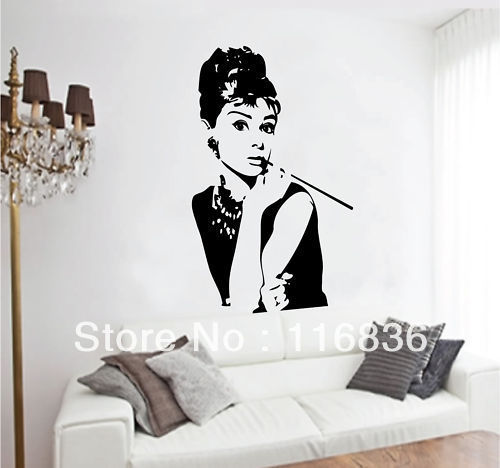 Free Shipping:Promotion Audrey Hepburn Movies Star Art Wall Stickers Vinyl  Decal Home Room Decor Part 79
