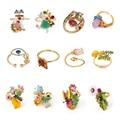 Les Nereides França Les Nereides Flor Gem Insect Anéis Raposa para As Mulheres de Alta Qualidade de Cobre de Ouro Esmalte Bom Presente Do Partido jóias