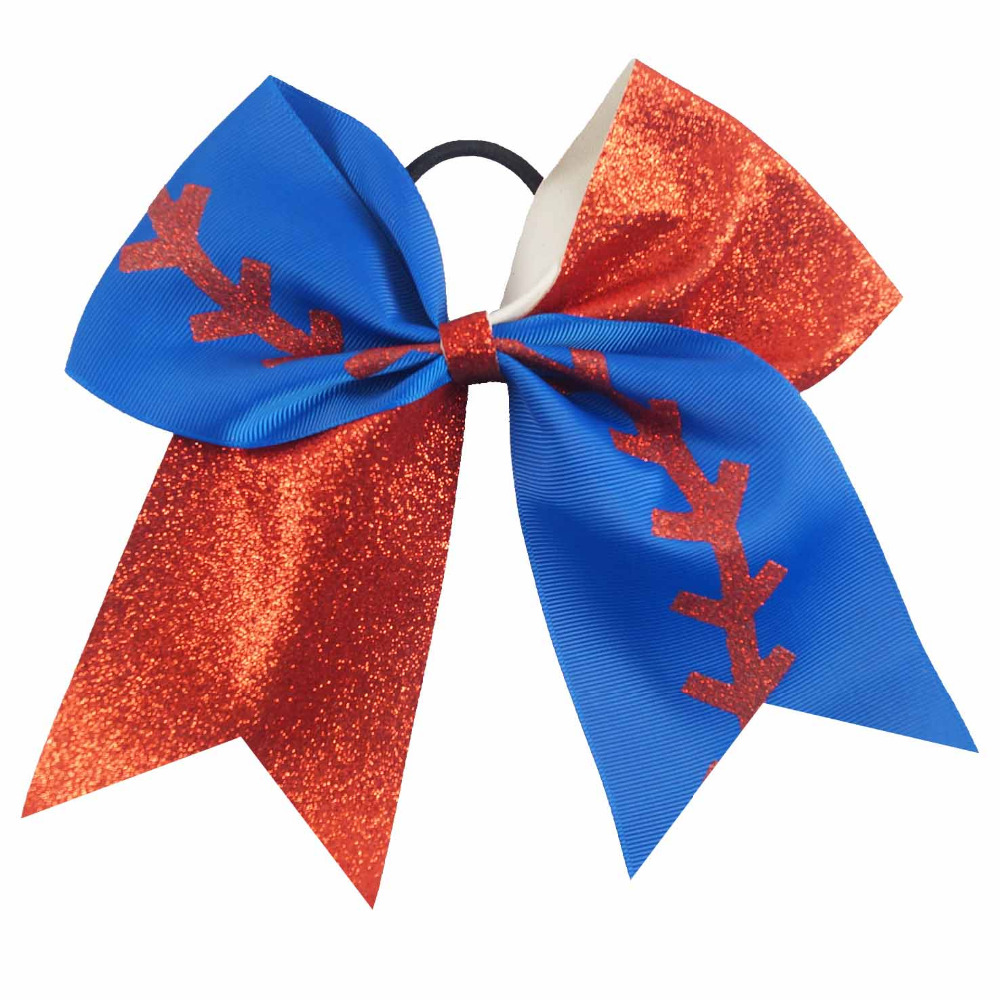 2pcs//set 7inch Kids Softball Printed Cheer Bow Elastic Rope Hair Bow With Clip