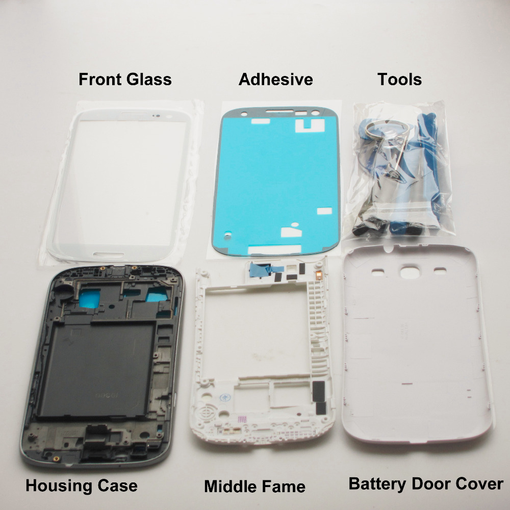 RYWILL Complet de L'affaire de Logement Pièces De Rechange pour Samsung Galaxy S3 SIII i9300 Avant Moyen Cadre Lunette Couverture Arrière + Avant verre