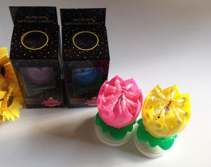 Musical Birthday Candle Magic Lotus Flower Candles Blossom Rotating Spin Party 14Small 2layers Cake