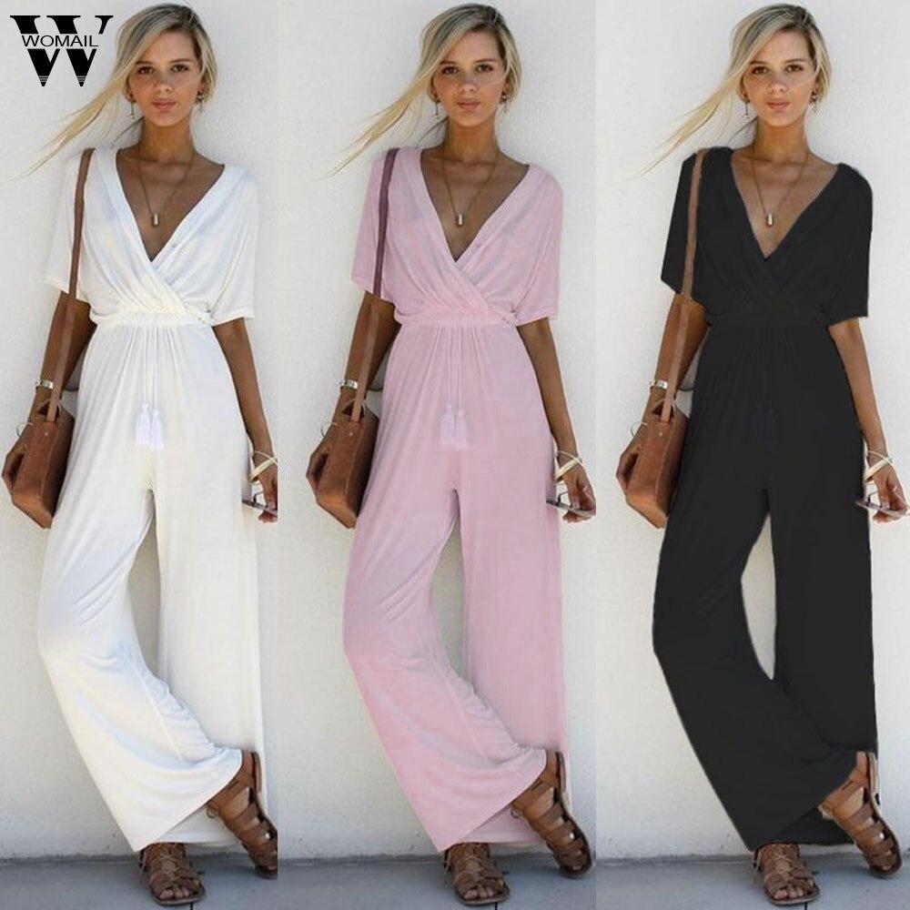 Womail bodysuit Women Summer Casual Solid V-Neck Playsuit Party Ladies Bodysuit Short Sleeve Long   Jumpsuit   2019 dropship M1