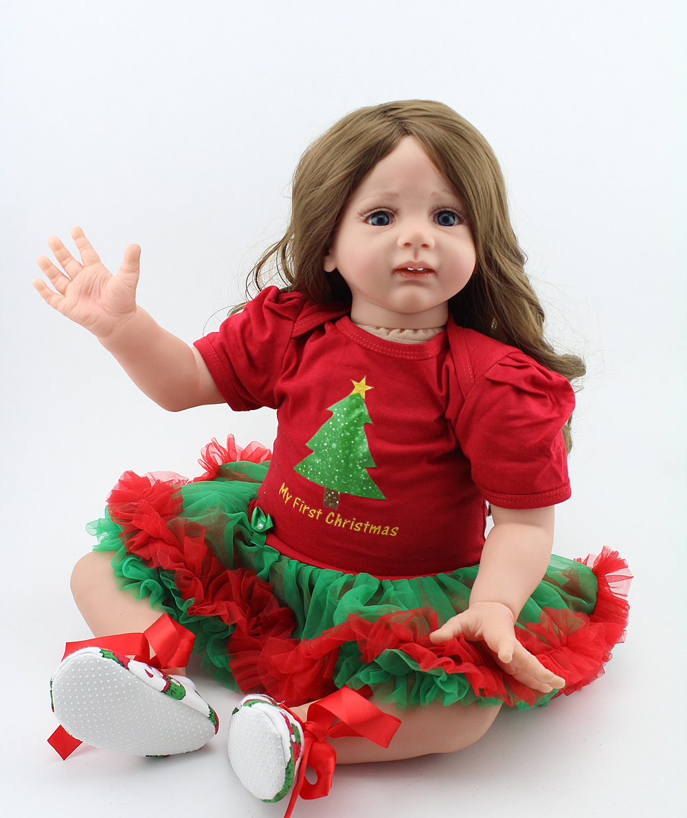 24 Inch Reborn Baby soft silicone vinyl realistic Toddler Girl Doll Xmas Gift