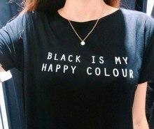 Черный Мое Счастливое Цвет Письмо Женщины Мужская Черный O Шеи Футболки Печать Мода Ти Черный Топы Леди Футболку 4 Плюс размер