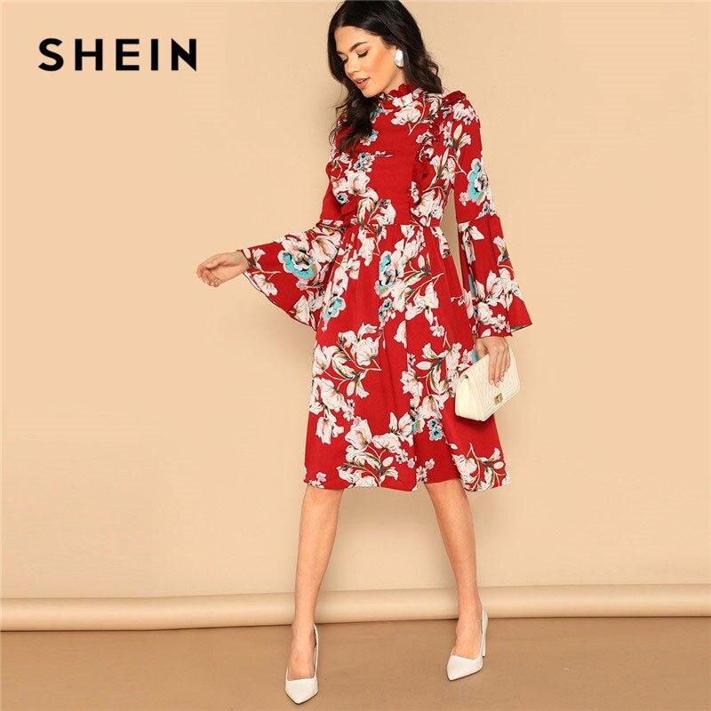SHEIN Ruffle Detail Bell Sleeve Red Dress Flower Print High Waist Knee-Length Vacation Dress 2019 Spring Women Elegant Dress