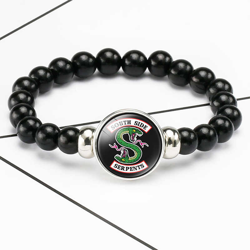 Riverdale beads Bracelet Men's Jewelry Elastic Riverdale Pattern Glass Cabochon Charm Beaded Bracelet Bangle