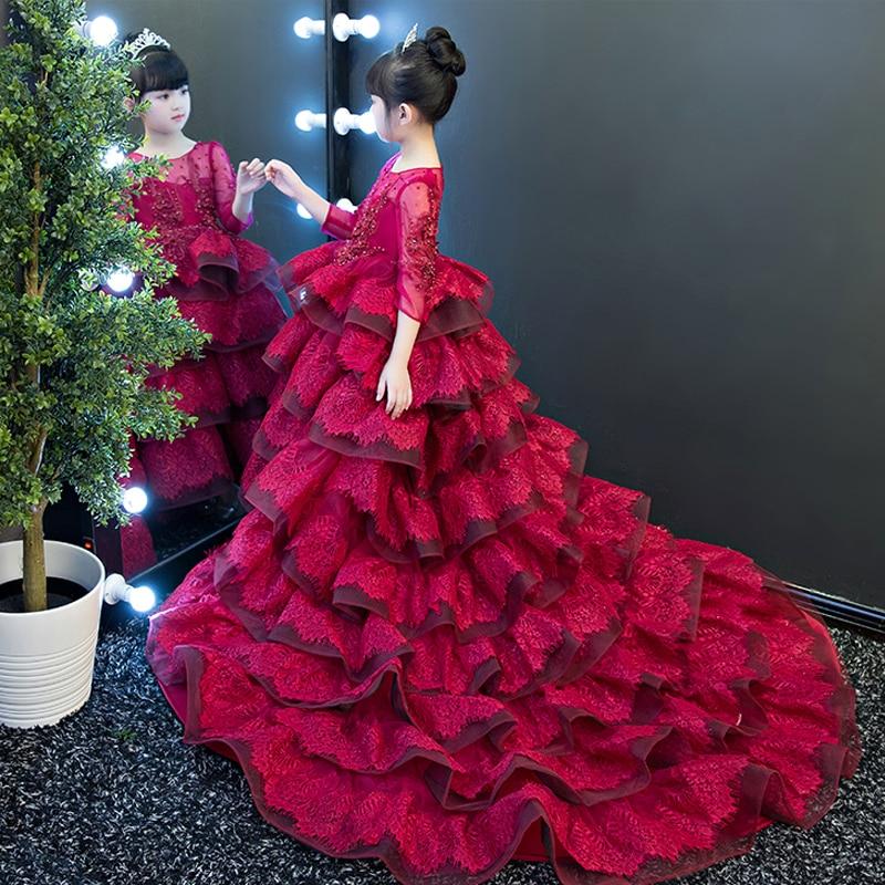 Three Quarter Sleeve Princess Girls Dress Catwalk Costume Girl's Long Trailing Evening Dresses Luxury Kids Party Gown Dress F256 belted three quarter sleeve shift dress