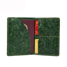 LOVMAXI Natural cow leather Passport Cover case Vintage flower embossed passport card holder clips multi card holders