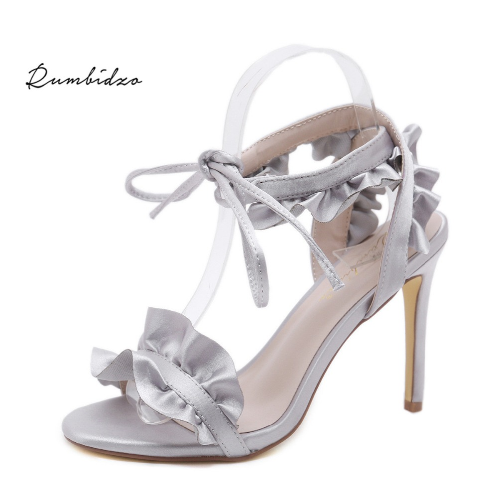 Rumbidzo Women High Heels Shoes Grey Open Toe Woman Pumps Summer Thin Heels Party Shoes Ruffles Ankle Strap Lace up Shoes cdts plus 35 45 46 2016 spring summer 20cm ladies open toe ruffles thin high heels platform party pumps woman wedding shoes