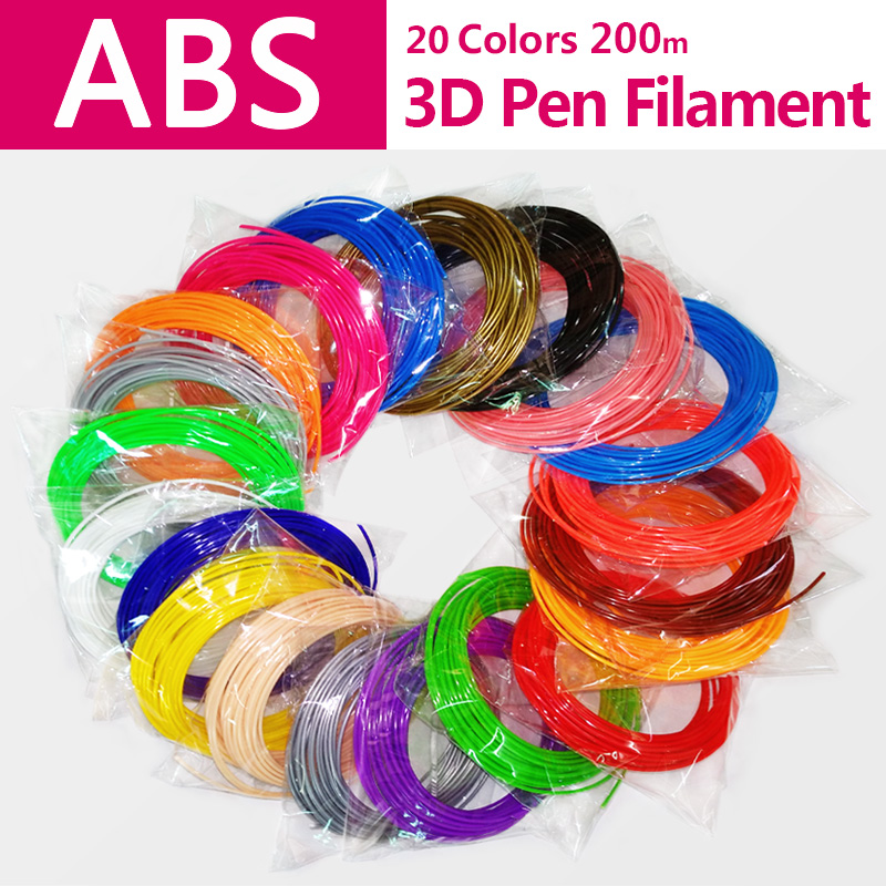 Kualitas produk abs 1.75mm 20 warna 3d printer filamen pla 1.75mm pelangi abs filamen 3d printer abs 3d kawat pena