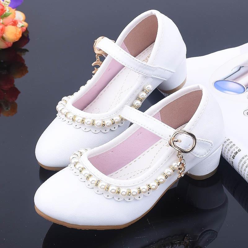 High Heels Kid Shoes Beading White
