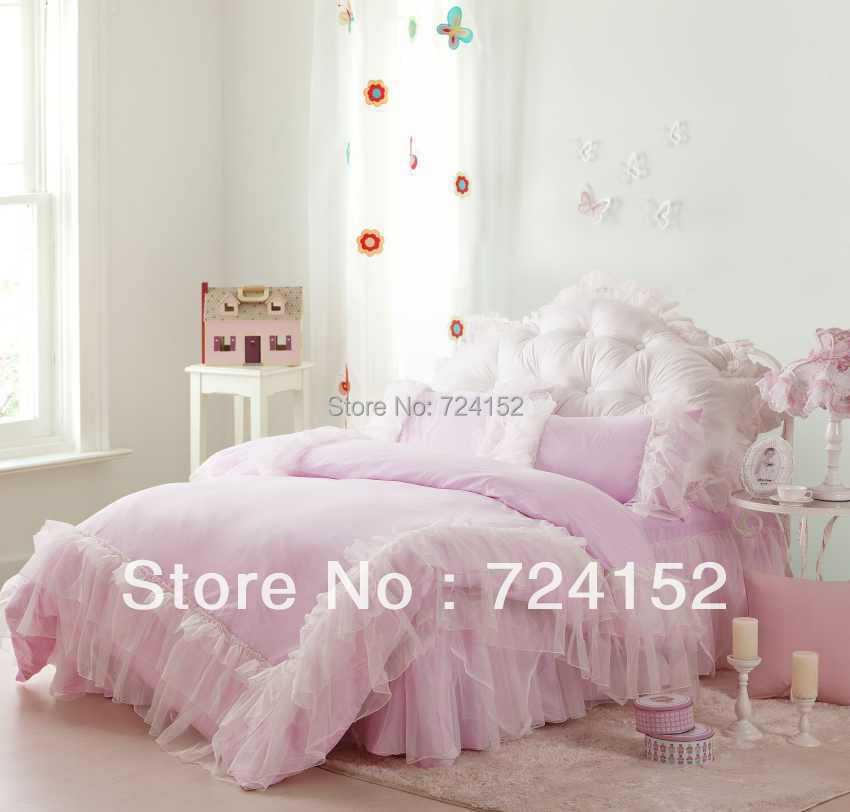 romantique blanc falbala de ruche ensembles de literie de dentelle rose princesse housse de couette couleur - Housse De Couette Romantique Rose