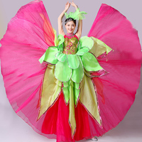 green&hot pink sequined flower petals carnival dance dress/stage performance/open ceremony/long dress with hair decoration