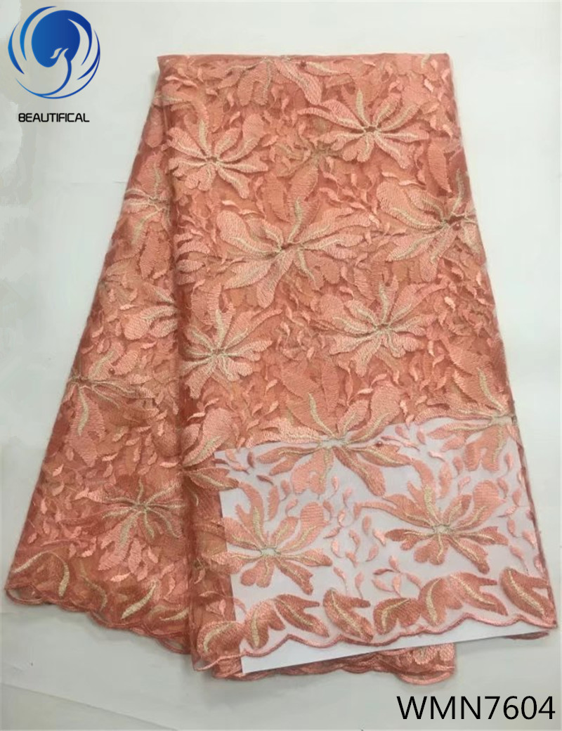 BEAUTIFICAL african mesh lace fabric 2018 embroidered lace fabric african french net lace high