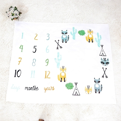 New Cartoon Fox blanket photography props for newborn baby blankets kids photography Accessories props letters numbers blanket