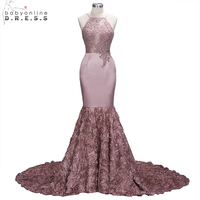 Real Photo Handmade Flower Lace Mermaid Prom Dresses 2018 Halter Backless Party Dresses Formal Evening Dresses