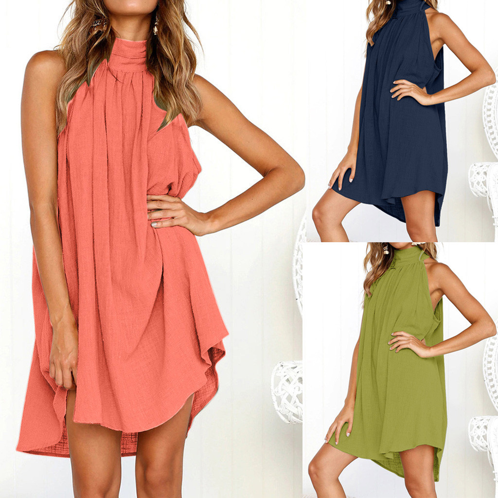 Summer Dress 2020 Womens Holiday Irregular Dress Ladies Summer Beach Sleeveless Party Dress For Female Vestidos Robe Femme 41