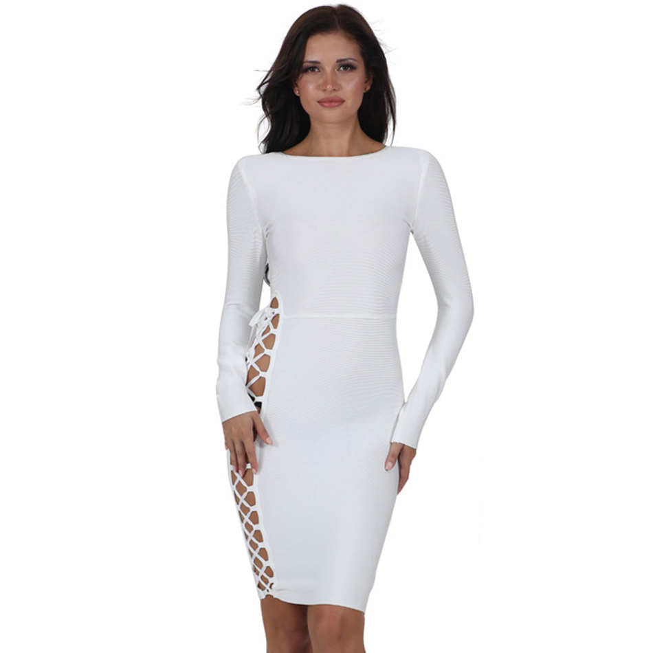 Rond Side Out Col Manches Longues Criss Up Club Robe Bandage Concise Lace Mini Cut Cross ga15Y1x