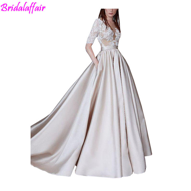 Vintage Prom Dresses Lace Half Sleeve