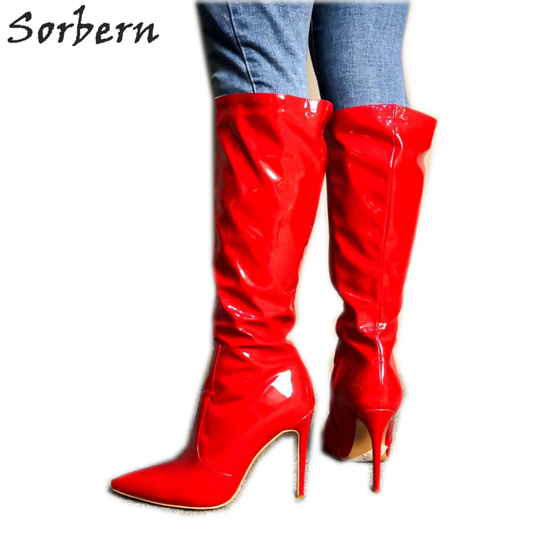 Sorbern Hot Red Knee High Boots Stilettos Custom Wide Fit Womens Boots Service Pointed Shoes Work Boots Women Multi ColorsSorbern Hot Red Knee High Boots Stilettos Custom Wide Fit Womens Boots Service Pointed Shoes Work Boots Women Multi Colors