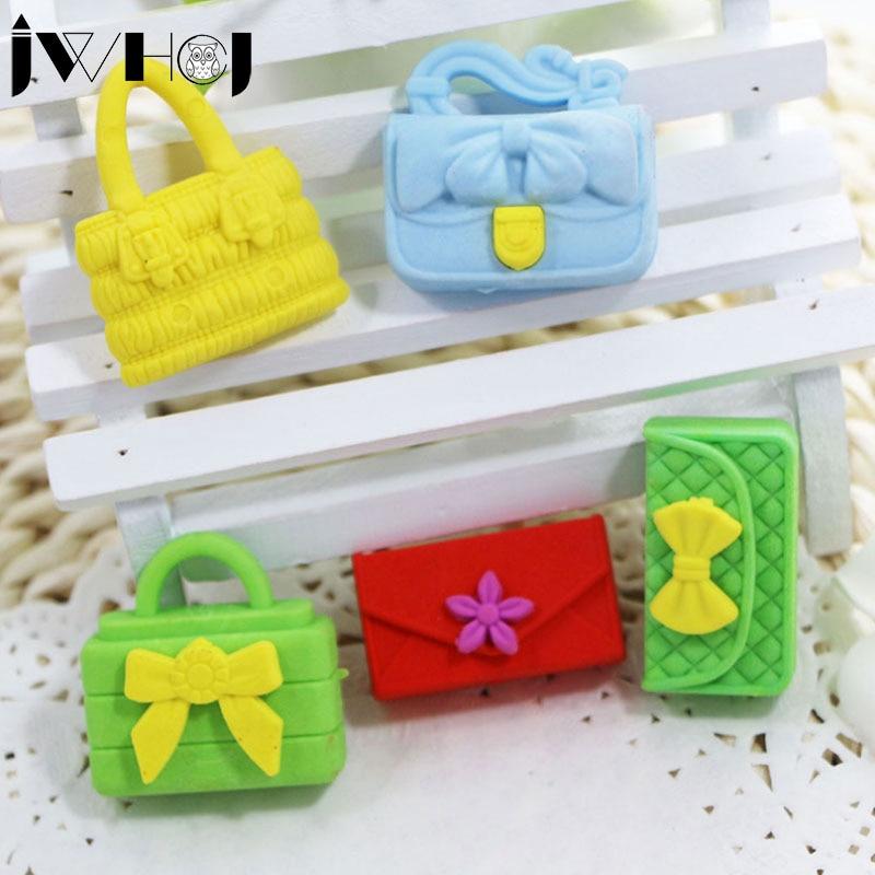 1 Pcs  Cute Girl Handbag Shape Eraser Kawaii Stationery Office School Correction Supplies Papelaria Child's Toy Gifts