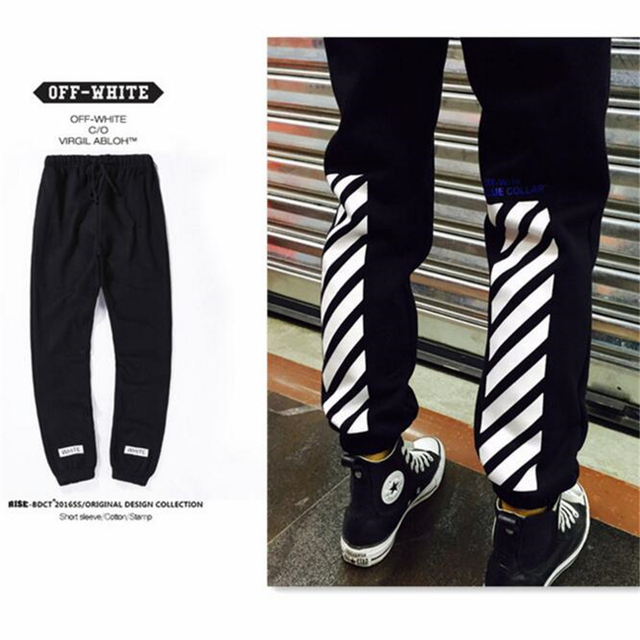OFF White C/o Virgil Abloh 16SS Men Sweatpants Male Casual Sweatpants Trousers Striped Jogger Pants Hip Hop Off-White Sweatpants