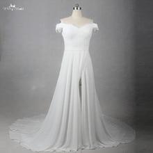 LZ204 Lace V neck Dress Off Shoulder Chapel Train Dresses Gauze Wedding Dress Slit Skirt