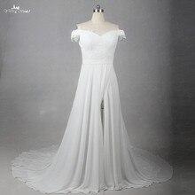 LZ204 Ren Cổ Chữ V Dress Off Vai Chapel Train Dresses Gạc Váy Cưới Khe Váy