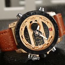 Top Brand Naviforce Fashion Men Leather Military Watch Men's Quartz Analog Led Digital Sport Wrist Watch relogio masculino+Box