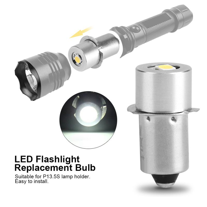 1W P13.5S Led Flashlight Bulb, 100~110LM 2700~7000K Replacement Bulb Torch Lamp Emergency Work Light(3V)