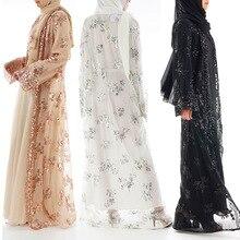 2020 Abaya Dubai di Lusso di Alta Classe Paillettes Musulmano Vestito Del Merletto Del Ricamo Ramadan Caftano Islam Donne Kimono Turco Eid Mubarak