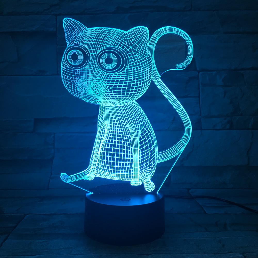 Cute Animal Cat Colorful 3D Visual Night Light Acrylic Touch Switch Table Lamp Decoration Bedroom Office Ambient Lights Sit Cat
