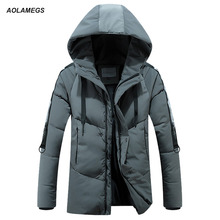 Aolamegs Down Jacket Men Solid Block Thick Hooded Winter Jacket Men Stand Collar Parkas Fashion Casual