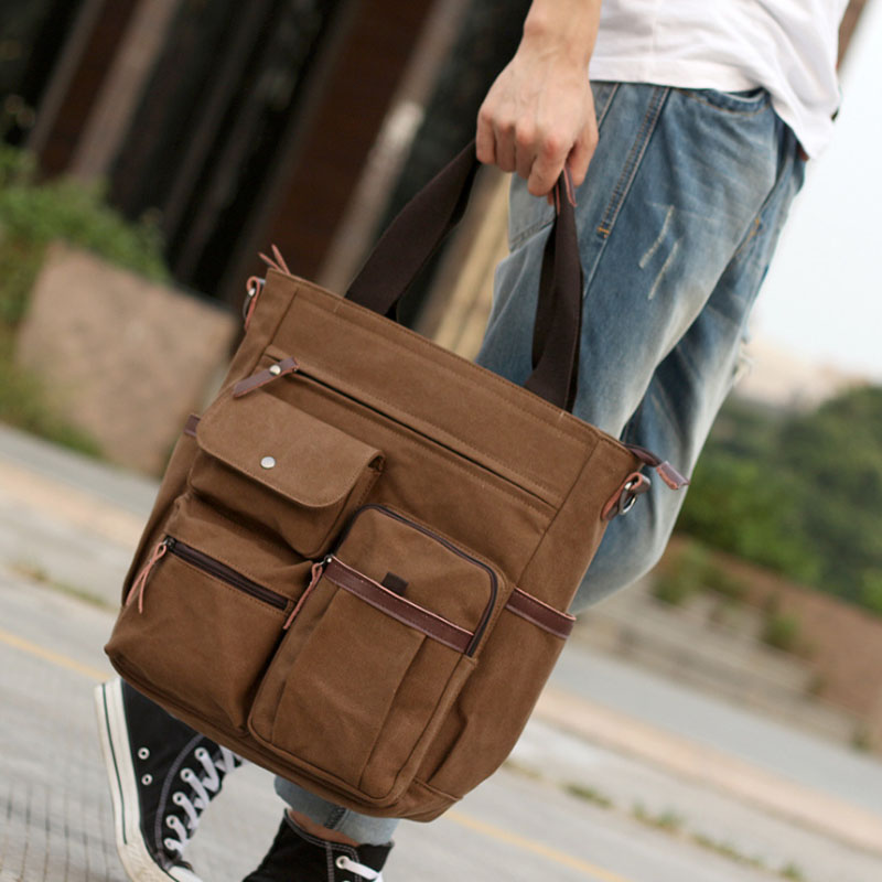 New Fashion Men's Canvas Travel Style Large Capacity High Quality Handbag Messenger Shoulder Cross Body Tote Casual Bag Handbags