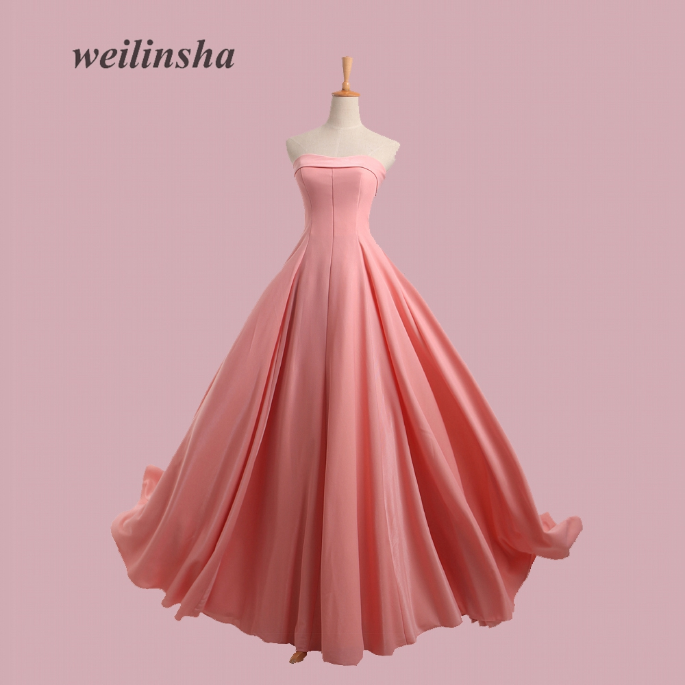 weilinsha Simple Cheap Bridesmaid Dresses Strapless Lace-up Wedding ...