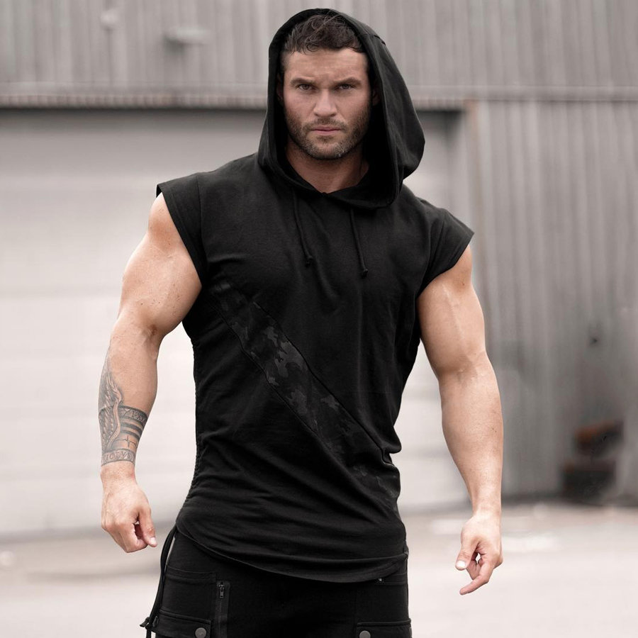 Image 3 - 2019 New Brand Stretchy Sleeveless Shirt Casual Fashion Hooded Gyms Tank Top Men bodybuilding Fitness Clothing-in Tank Tops from Men's Clothing