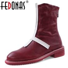 FEDONAS 2020 Outono Inverno Popular Mulheres Botas Zipper sapatos de Salto Alto Moda Botas Curtas Botas de pele de Carneiro De Qualidade Sapatos de Dança Mulher