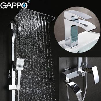 GAPPO baterie natryskowe baterie do wanny zestaw prysznicowy łazienkowy bateria umywalkowa baterie umywalkowe kran do zlewu i umywalki system prysznicowy tanie i dobre opinie CN (pochodzenie) SQUARE Chromowany Mosiądz G2407+G1007-1 mixer tap shower faucets shower bathroom faucet shower shower set